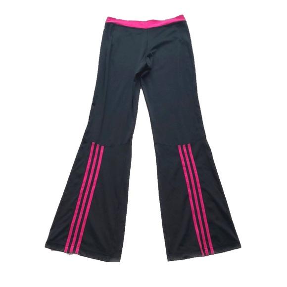 ⭐️HP⭐️Adidas Blk & Pink Striped Flare Leg Pants